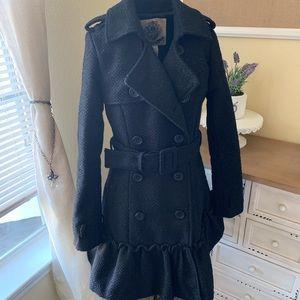 BB Dakota Long Black Glittery Pea Coat